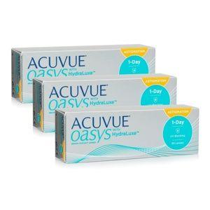 Acuvue Oasys 1-Day with HydraLuxe for Astigmatism (90 šošoviek) Acuvue Jednodenné tórické silikón-hydrogélové Športové